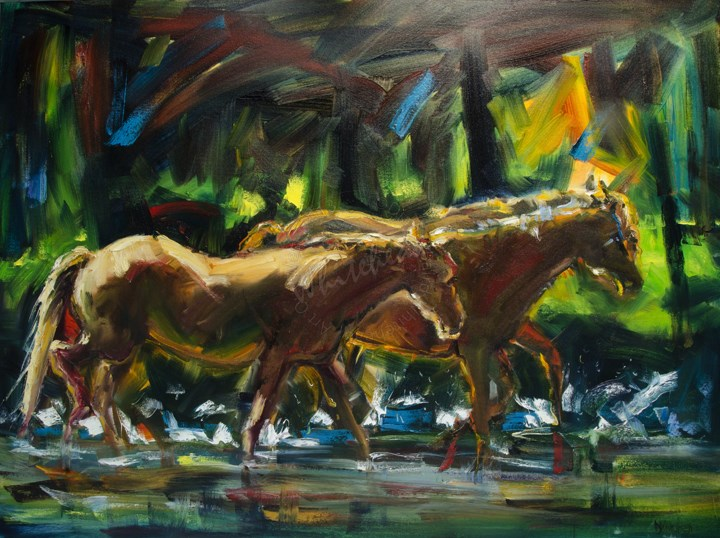 """ARTOUTWEST DIANE WHITEHEAD HORSE RIVER RUN ANIMAL ART OIL PAINTING"" original fine art by Diane Whitehead"