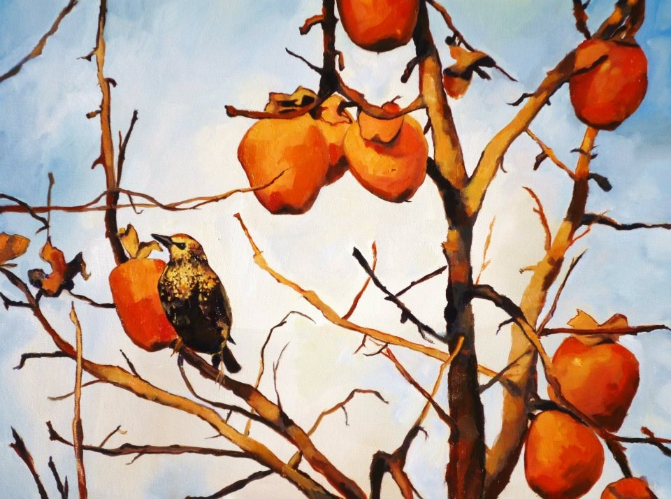 """The Persimmon Tree"" original fine art by Nava Judith"
