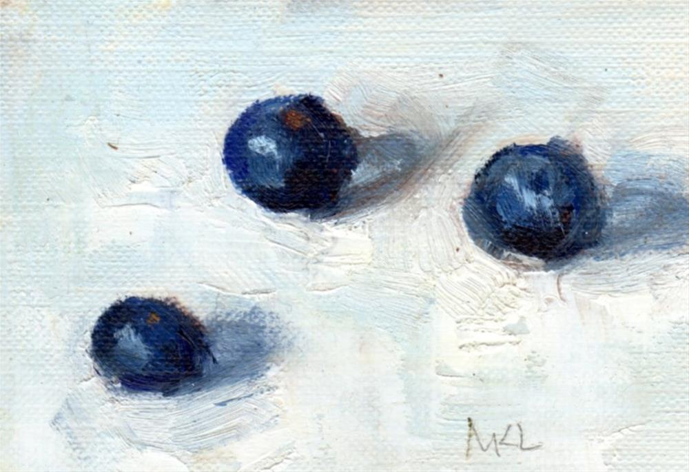 """Three Blueberries"" original fine art by Marlene Lee"