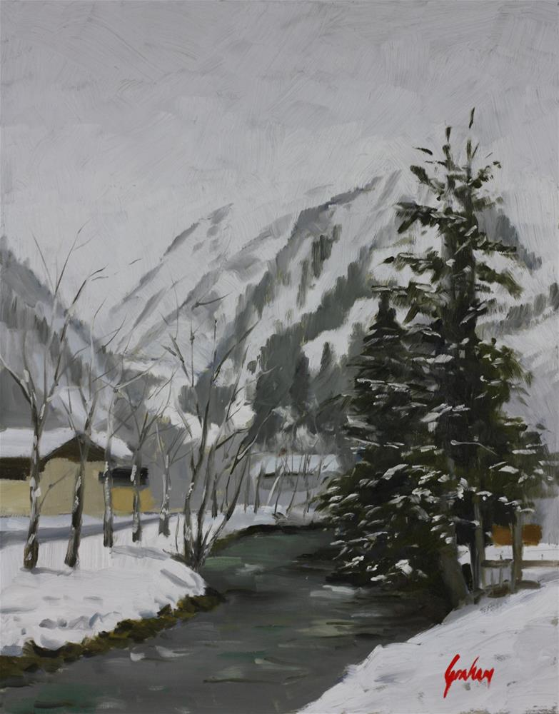 """Falling snow, Kitzsteinhorn"" original fine art by Graham Townsend"