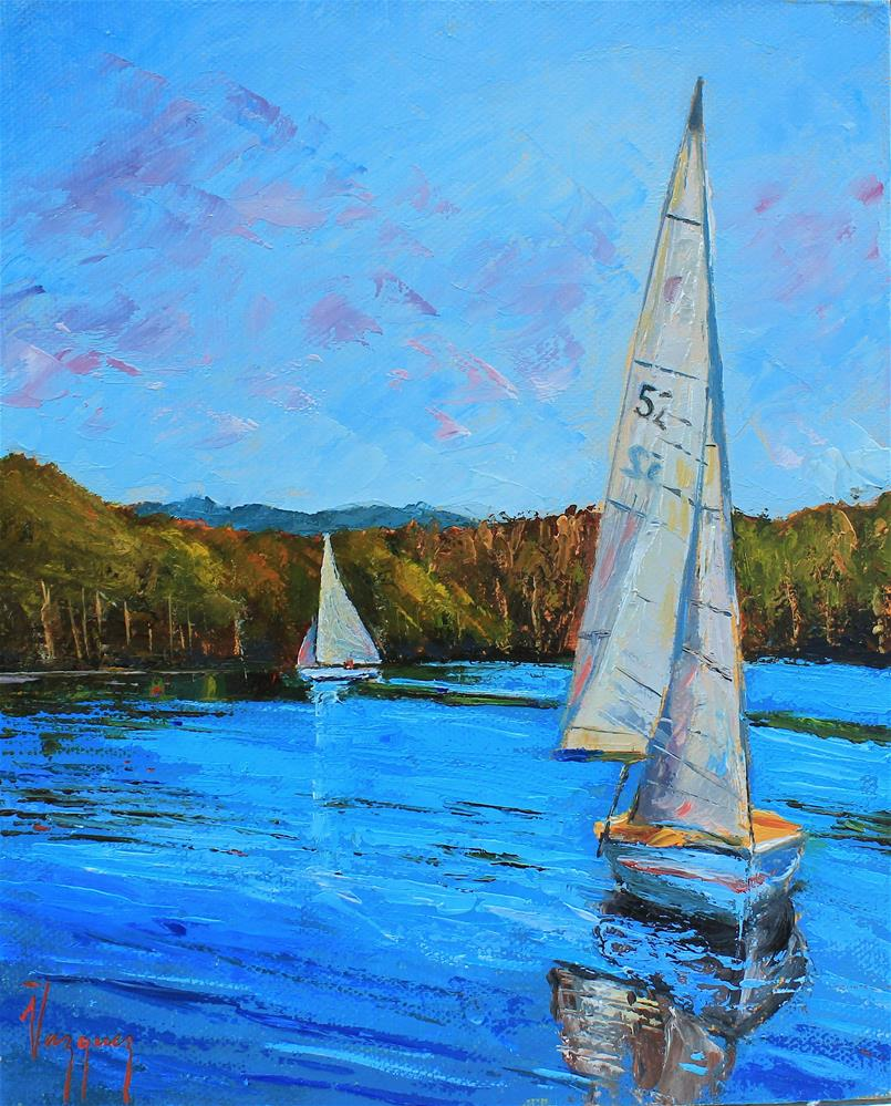 """Sailing in blue waters"" original fine art by Marco Vazquez"