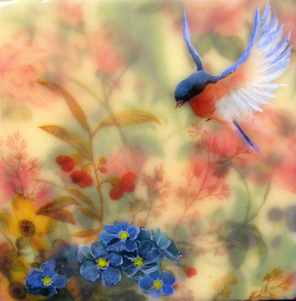 """Blue Bird in My Garden #3"" original fine art by Danielle M. Le  Bris"