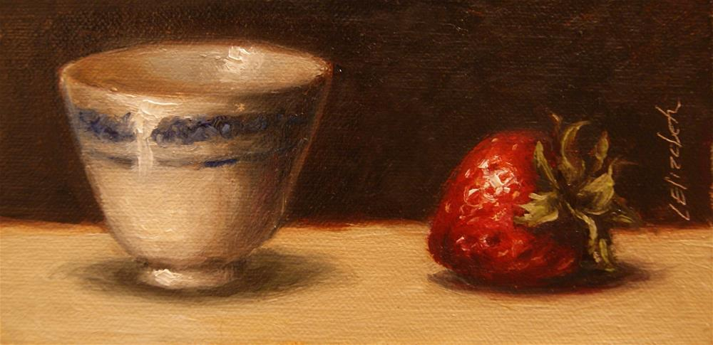 """Strawberry and Blue and White Cup,  Oil on 3x6 Linen Panel"" original fine art by Carolina Elizabeth"