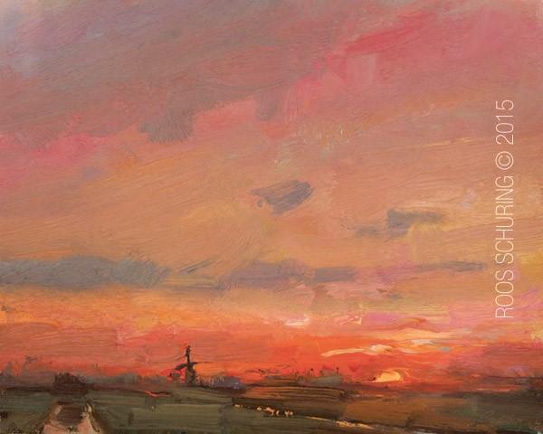 """""""Landscape Red Sky Sunrise"""" original fine art by Roos Schuring"""