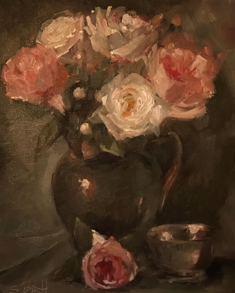 """Roses and Silver Pitcher"" original fine art by Sherri Burritt"