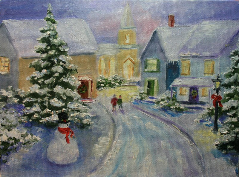"""Winter Evening"" original fine art by Jean Nelson"