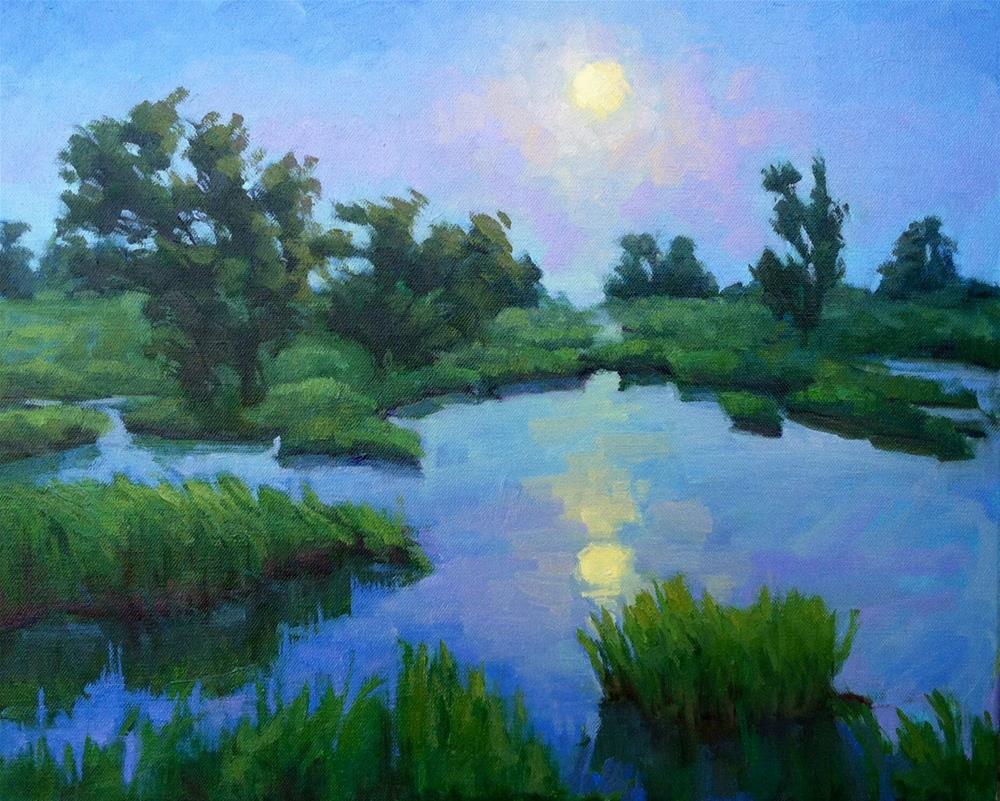 """Wetland Moonrise"" original fine art by Mary Mulvihill"