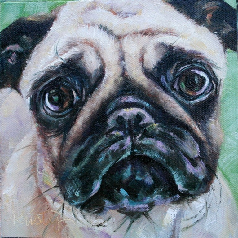 """PUGS NEED HUGS"" original fine art by Kristy Tracy"