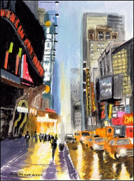 """Big City Rain"" original fine art by Patricia Ann Rizzo"