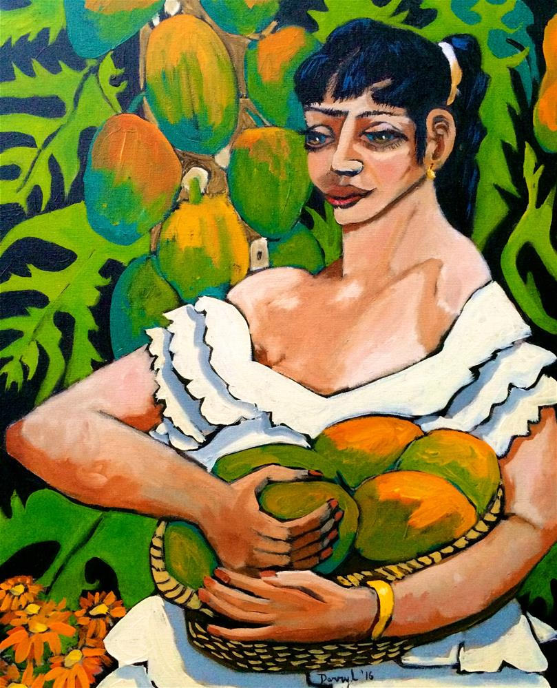 """Woman with Papayas"" original fine art by Darryl Freeman"