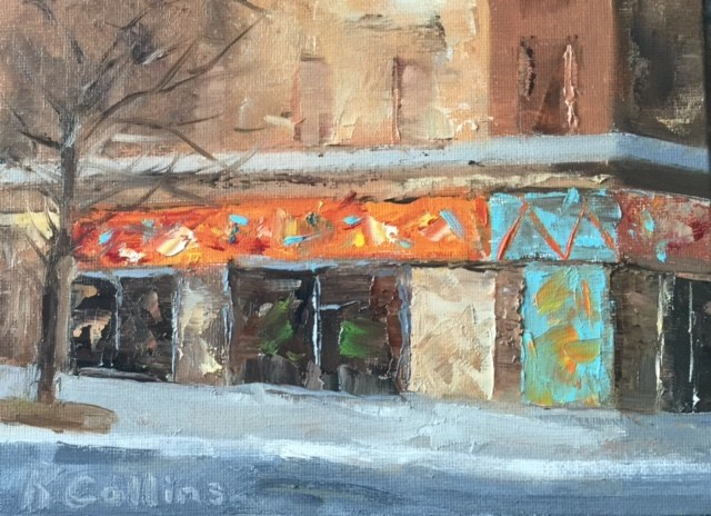 """""""Two Boots Pizza"""" original fine art by Kathy Collins"""