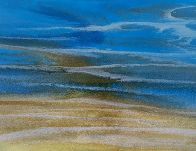 """Contemporary Seascape,Abstract Beach Art, Beach Dreams-Azurean and Gold VIII by Colorado Contempor"" original fine art by Kimberly Conrad"