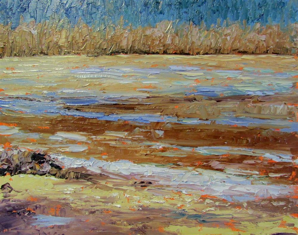 """""""8 x 10 inch oil Sand Patterns"""" original fine art by Linda Yurgensen"""