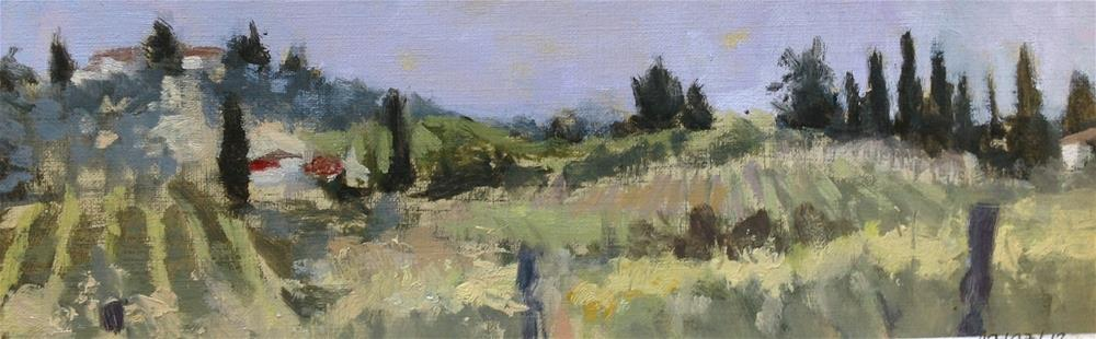 """Tuscan panorama I"" original fine art by Christine Bayle"