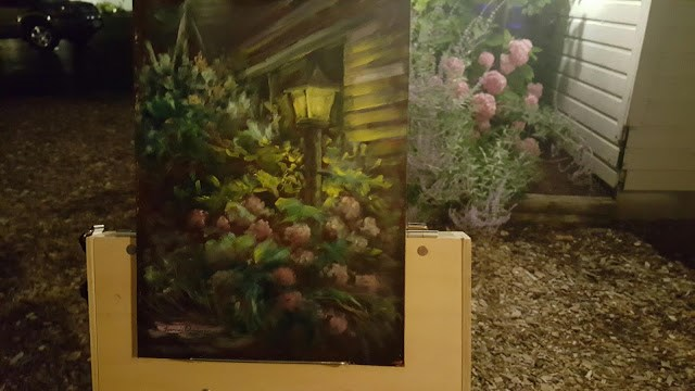 """Pink Hydrangea by Lamplight"" original fine art by Tammie Dickerson"