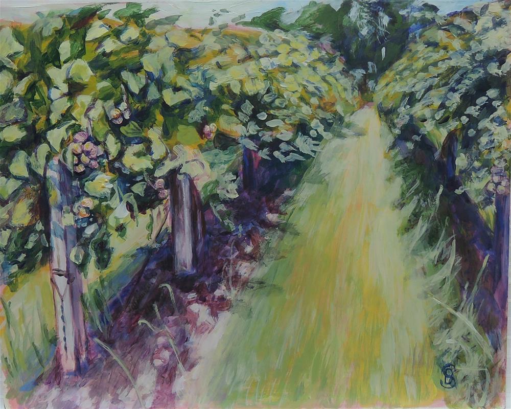 """""""Muscadine Vineyard"""" original fine art by Belinda Scheber"""