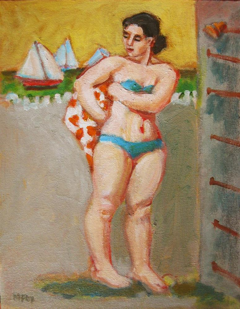 """Figurative painting of woman at beach, ocean, sailboats, contemporary figure painter, woman art, fig"" original fine art by Marie Fox"