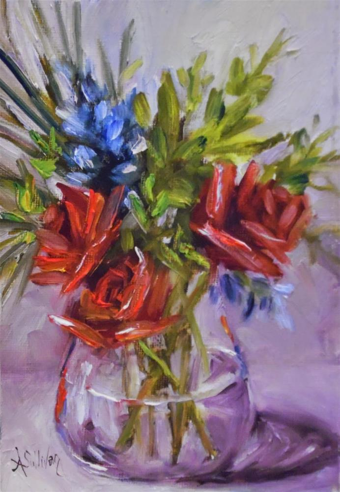 """Three Red floral painting by Alabama Artist Angela Sullivan"" original fine art by Angela Sullivan"