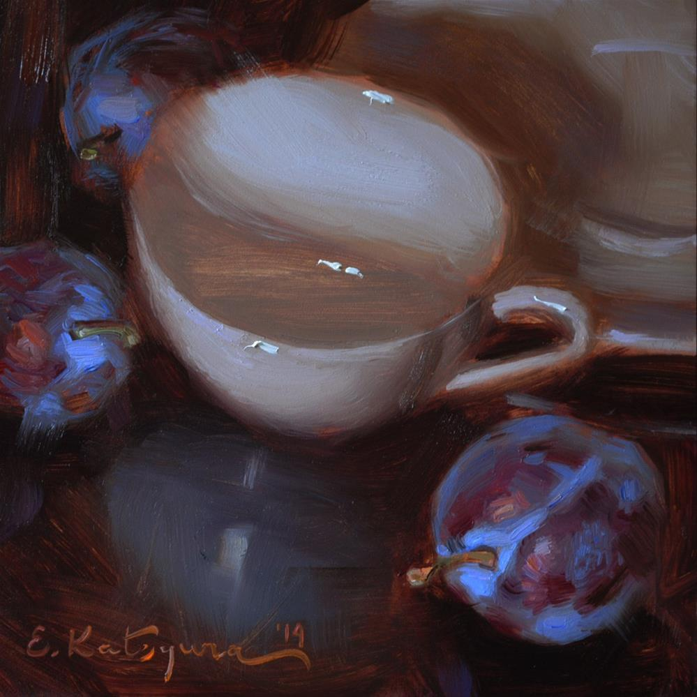 """Cup and Plums"" original fine art by Elena Katsyura"