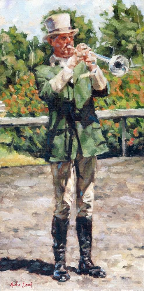 """""""The Bugleman from Hollywood Park"""" original fine art by Audra Esch"""