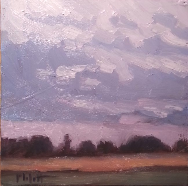 """Allaprima Purple Dusk Landscape Oil Painting"" original fine art by Heidi Malott"