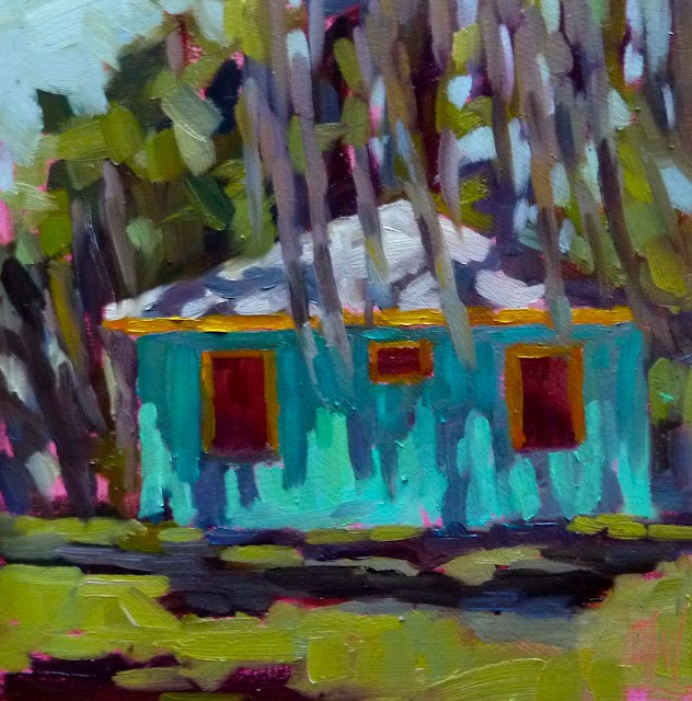 """SSI Cottage 6x6 oil on board. My last painting from St Simon's Island. A little stucco house with great shadows and Spanish moss everywhere."" original fine art by Mary Sheehan Winn"