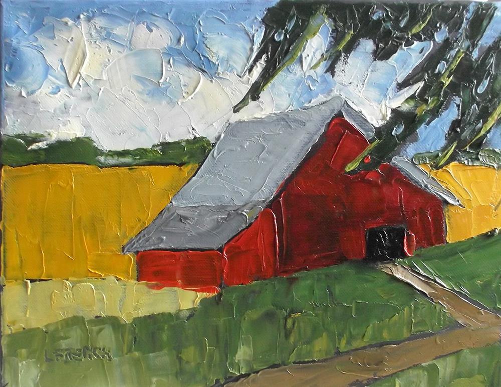 """""""California Red Barn"""" original fine art by lynne french"""