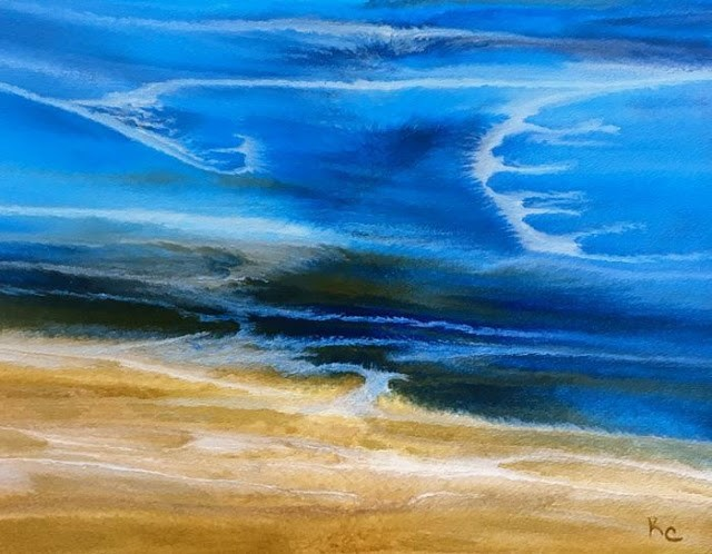 """Contemporary Seascape,Abstract Beach Art, Beach Dreams-Azurean and Gold VII by Colorado Contempora"" original fine art by Kimberly Conrad"