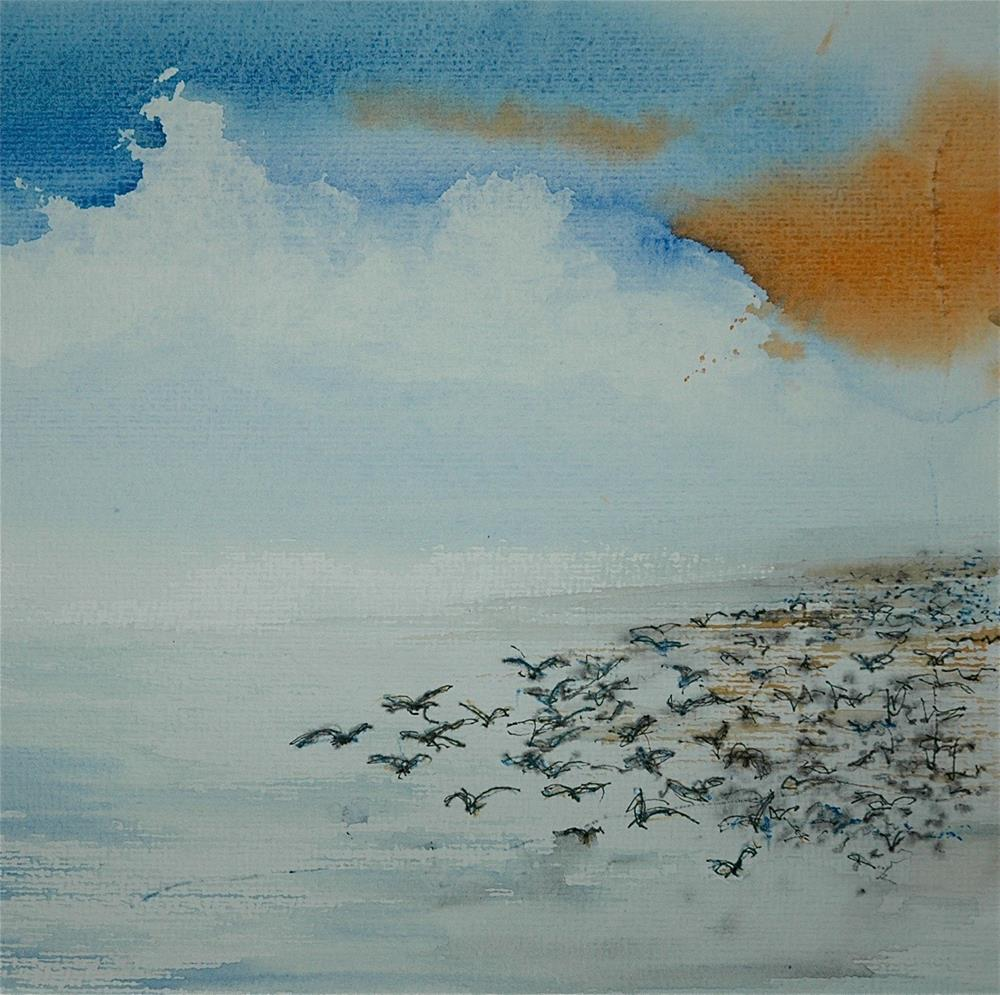 """The flock of birds"" original fine art by Ulrike Schmidt"