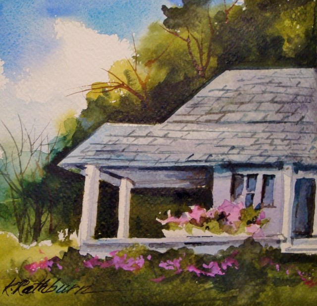"""Spring at the Cottage"" original fine art by Kathy Los-Rathburn"