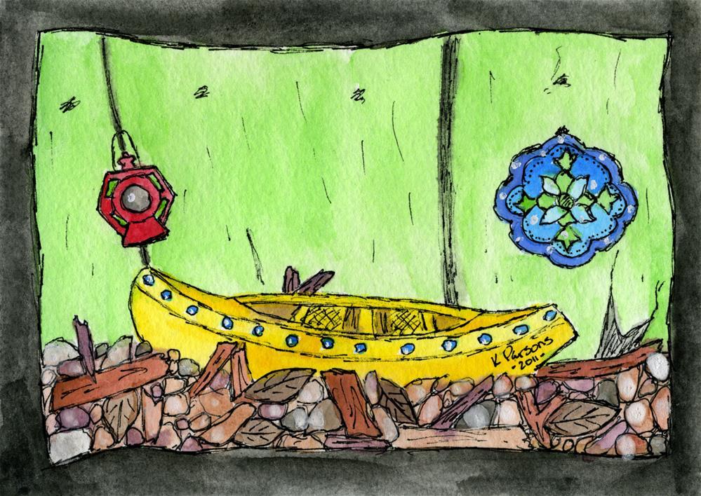 """Wonderlandia Canoe"" original fine art by Kali Parsons"