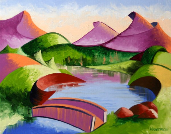 """Mark Webster - Abstract Geometric Mountain Bridge Landscape Oil Painting"" original fine art by Mark Webster"