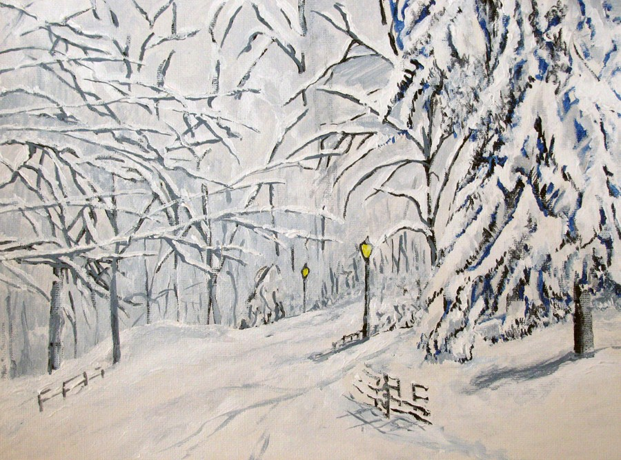 """Winter Walk"" original fine art by Nan Johnson"