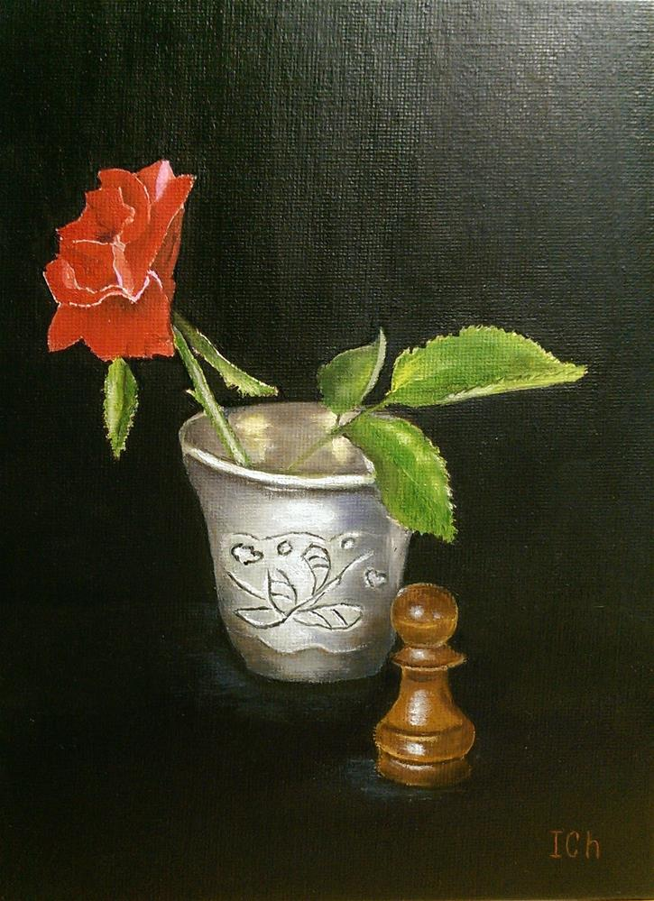 """Rose, Silver, Chess"" original fine art by Irina Chekhovtsova"