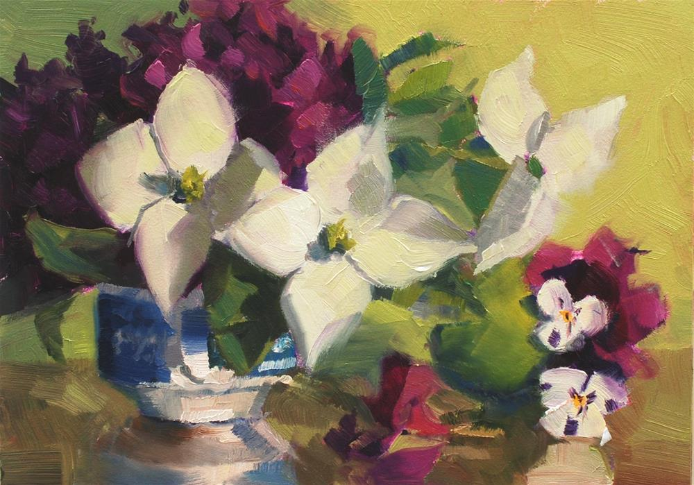 """Teacup Bouquet 5"" original fine art by Susan McManamen"