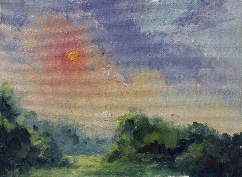 """Sunset at Faust-en plein air"" original fine art by Veronica Brown"