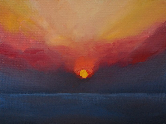 """Red Sunrise"" original fine art by J M Needham"
