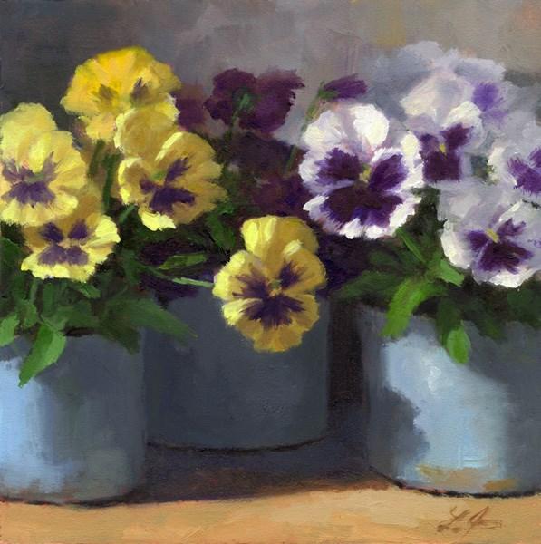"""Pansy Trio"" original fine art by Linda Jacobus"