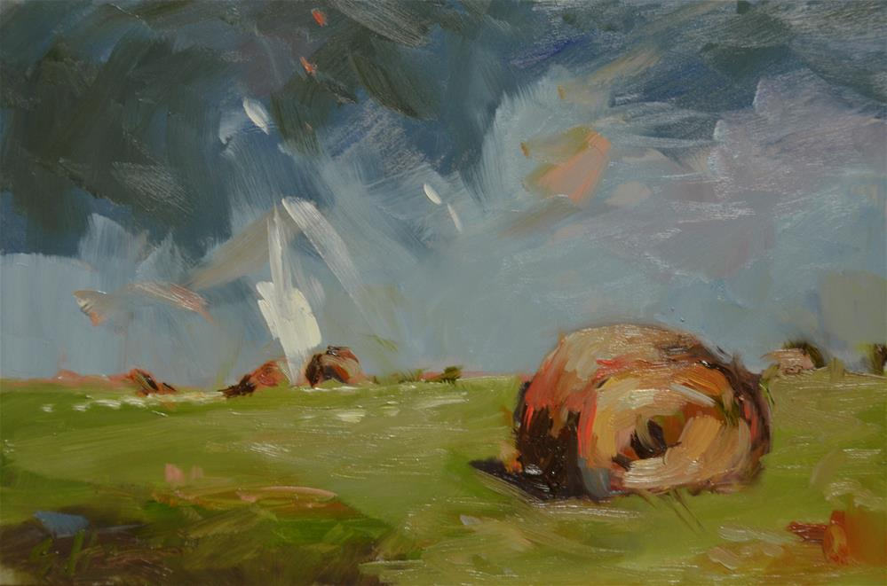 """Round Bales in Storm"" original fine art by Susan Hughes"
