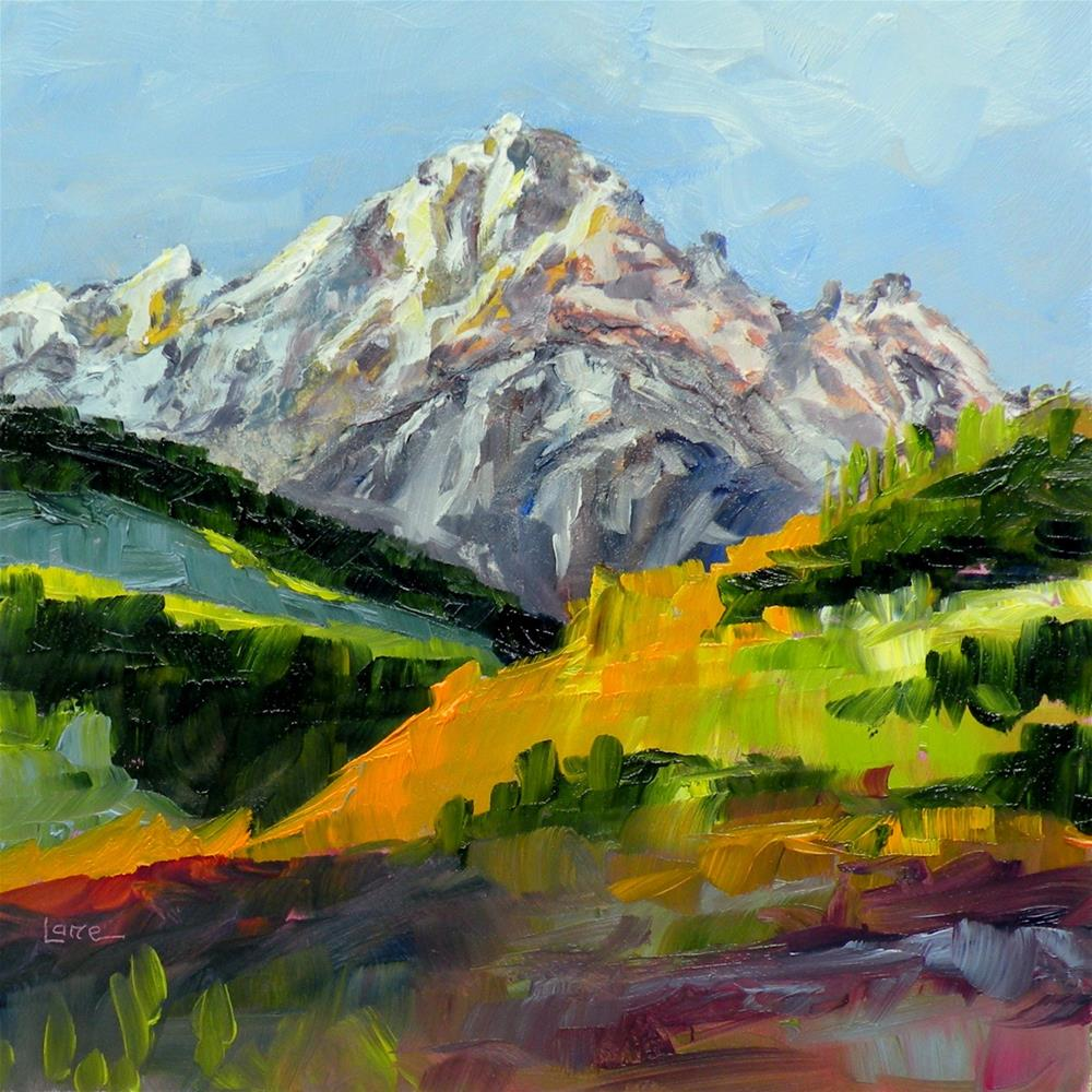 """MT. SNEFFELS ORIGINAL OIL OF COLORADO MOUNTAIN © SAUNDRA LANE FINE ART"" original fine art by Saundra Lane Galloway"
