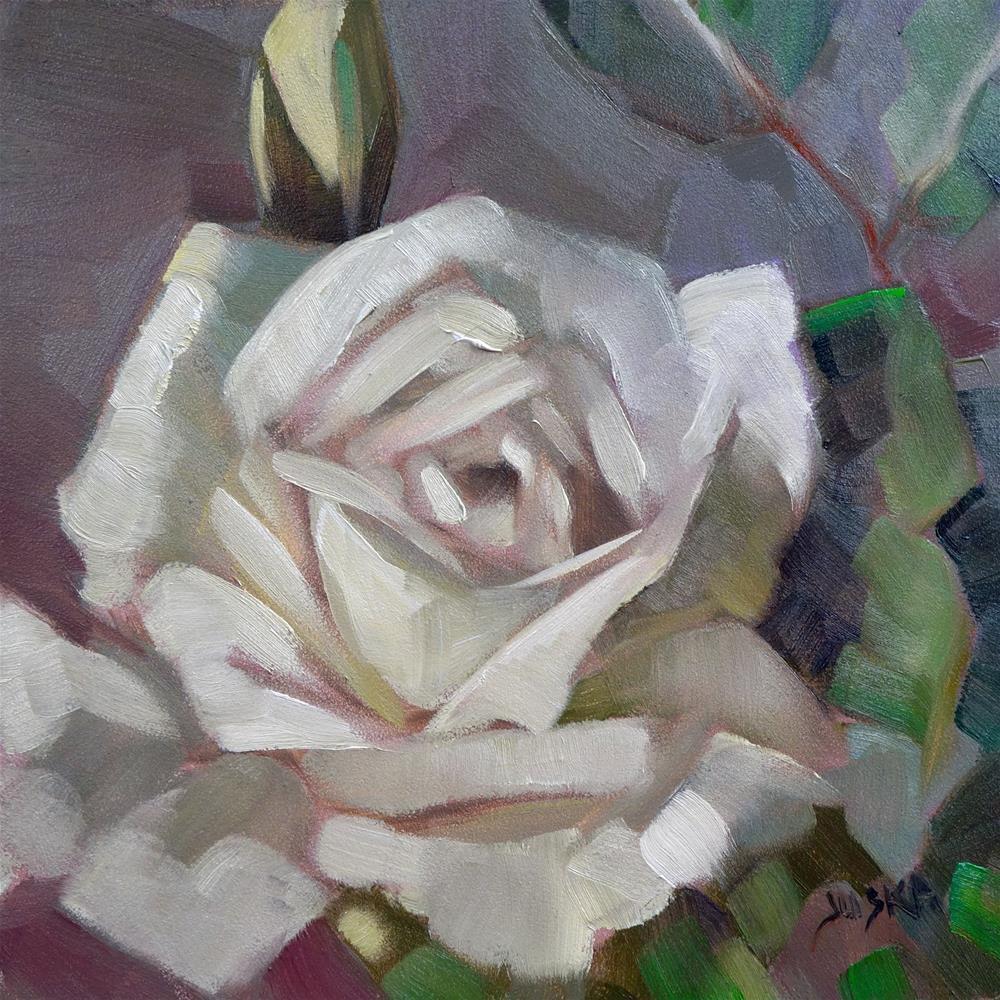 """White Rose"" original fine art by Elaine Juska Joseph"