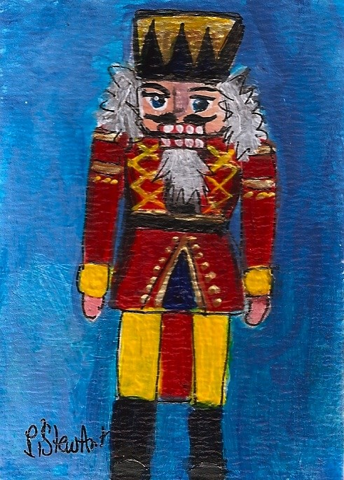 """ACEO Nutcracker Painting Soldier Red Yellow Blue Gold Trim SFA Penny StewArt"" original fine art by Penny Lee StewArt"