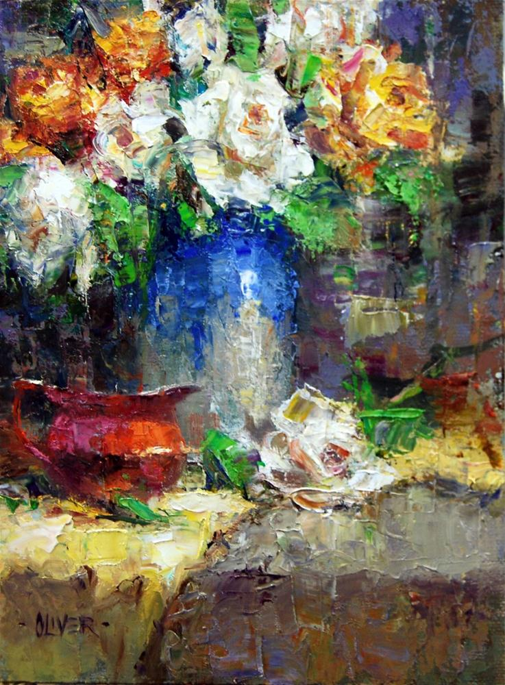 """Golden  and White Roses"" original fine art by Julie Ford Oliver"
