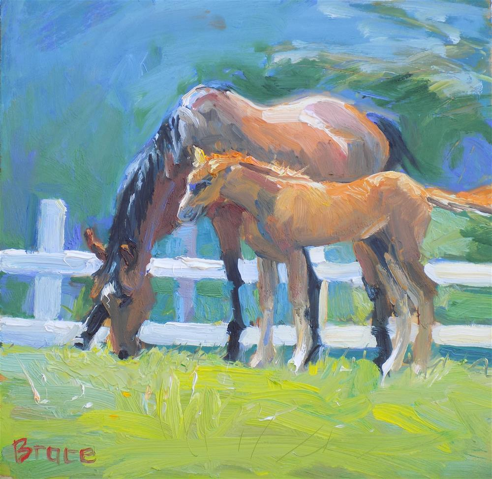 """Mare And Foal"" original fine art by Rita Brace"