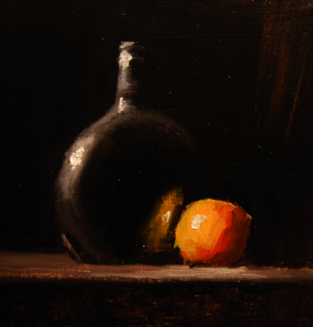 """Clementine and Bottle"" original fine art by Neil Carroll"