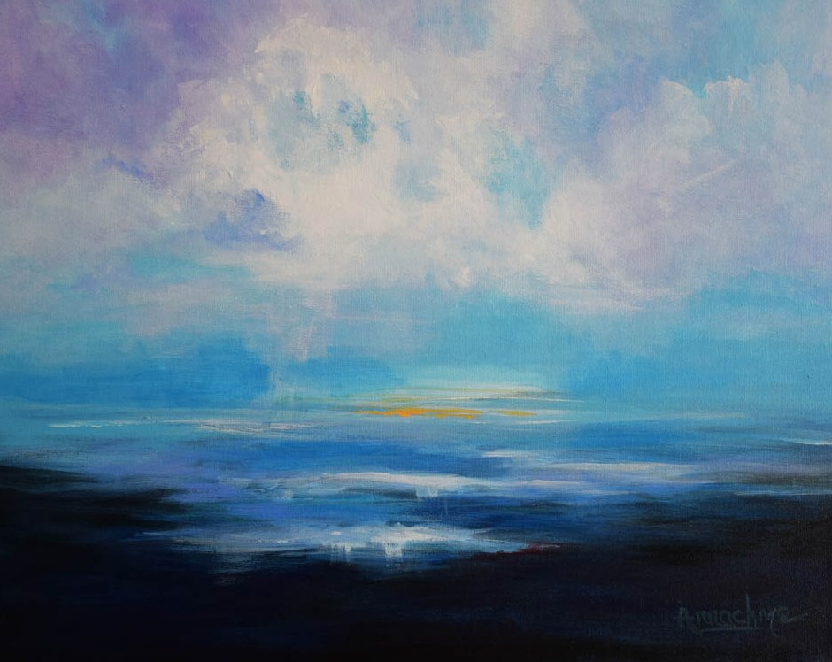 """Abstract Seascape Art , Contemporary Ocean Painting Clear Skies  by International Artist Arrachme"" original fine art by Arrachme Art"