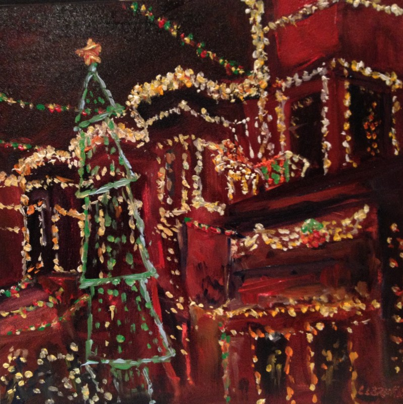"""34th Street Christmas II, Day 76"" original fine art by Claudia L Brookes"