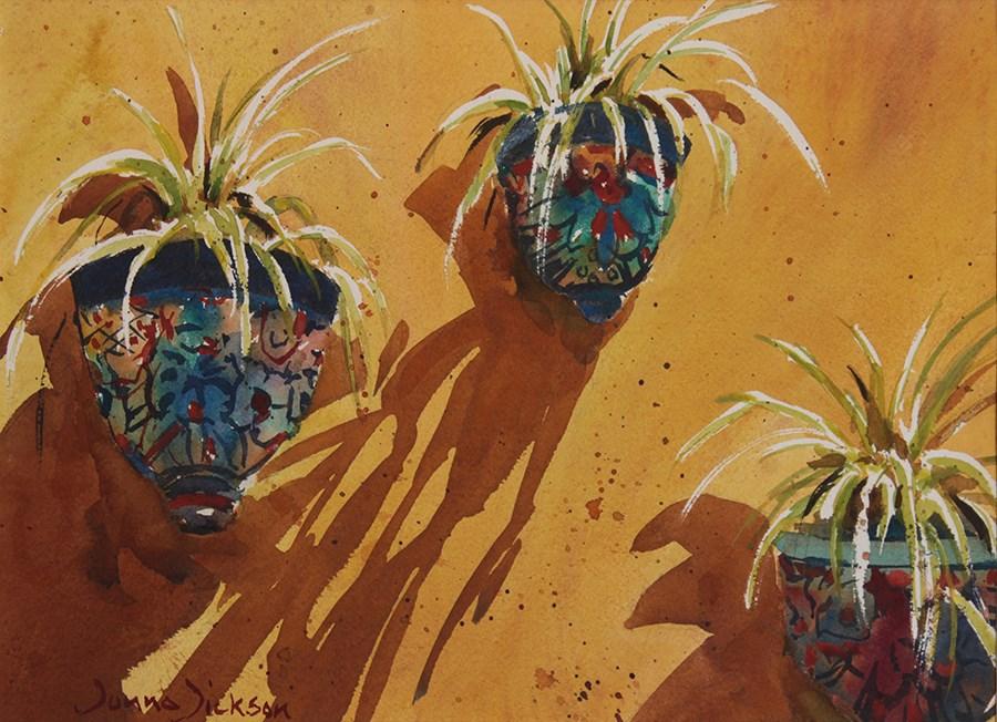 """Sunny Planters and Shadows"" original fine art by Donna Dickson"