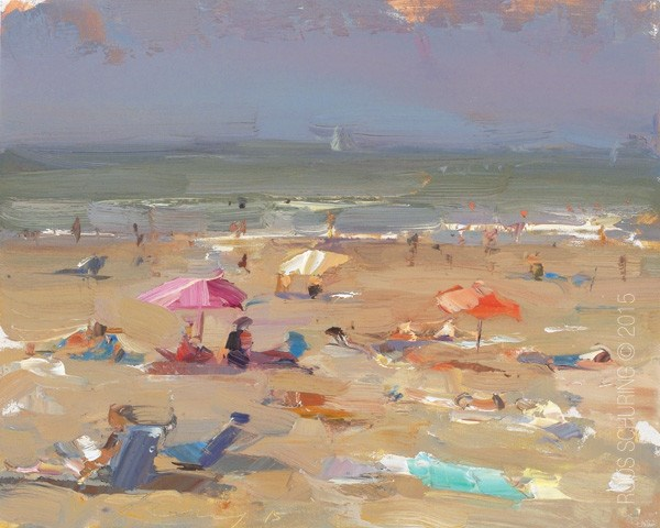 """Seascape Plein air Parasols"" original fine art by Roos Schuring"