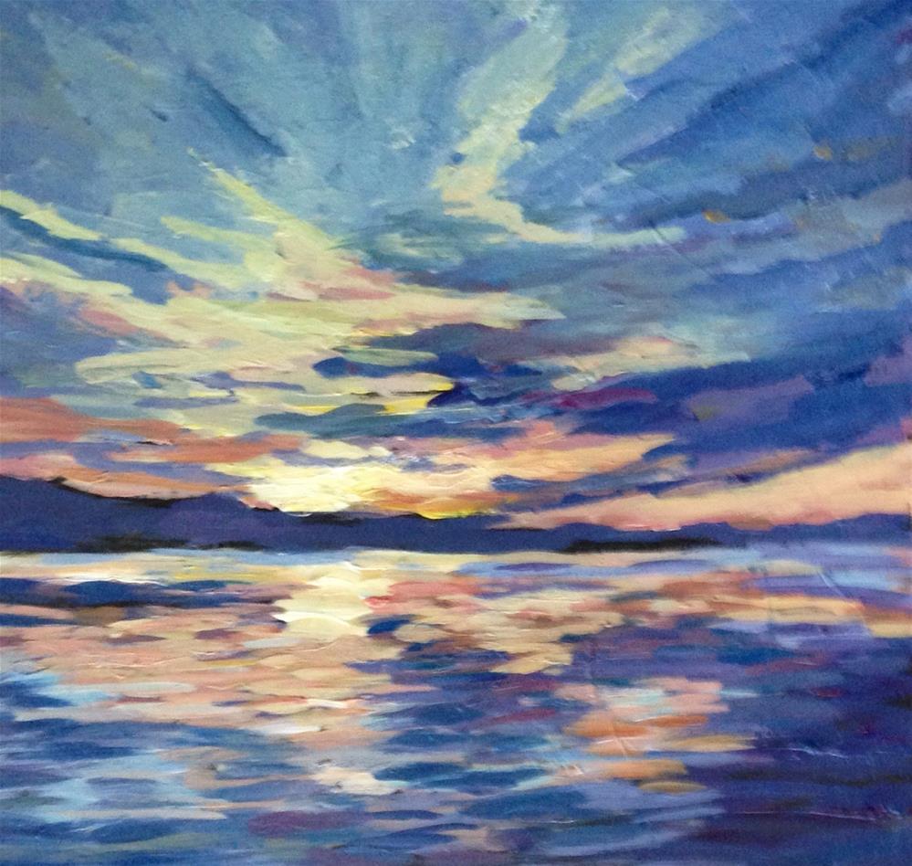 """RIVER SUNSET- 8x8 acrylic on board"" original fine art by Rita Corrigan"